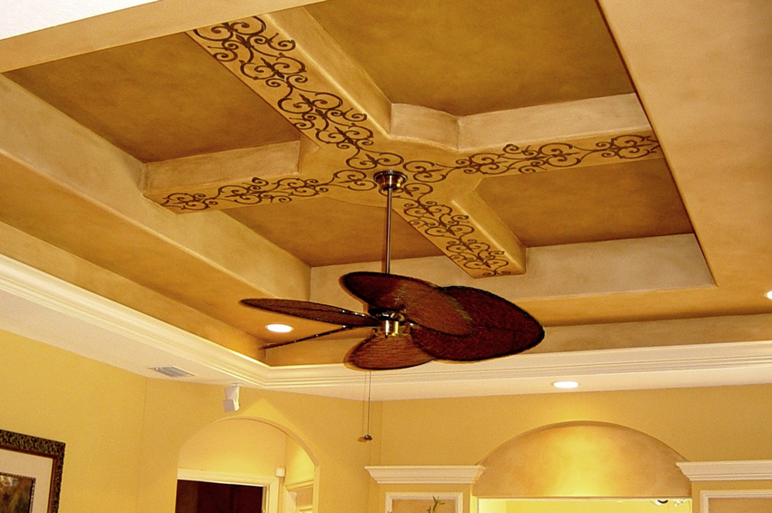 Color wash ceiling with embossed stencil detail